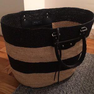 Balenciaga Large Striped Raffia Tote Bag